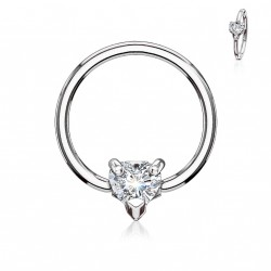 Piercing anneau 10 x 1,2mm et un coeur en zirconium Kar ANN003