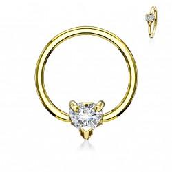 Piercing anneau doré 10 x 1,2mm et un coeur en zirconium Kyx ANN003
