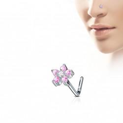 Piercing nez fleur rose avec six pierres de zirconium Kugy NEZ011