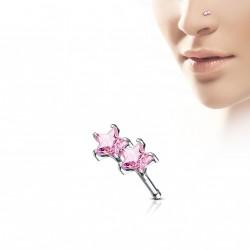Piercing nez coudé double étoiles en zirconium rose 9mm Xyve NEZ149