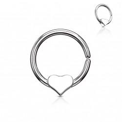 Piercing anneau 10 x 1mm avec un coeur Hady ANN020