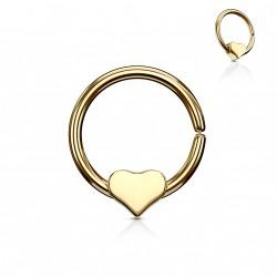 Piercing anneau doré 10 x 1mm avec un coeur Hady ANN020