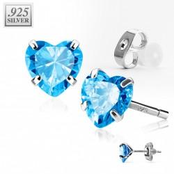 Puces d'oreilles coeur zirconium bleu 4mm Hiko PUC020