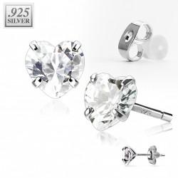 Puces d'oreilles coeur zirconium blanc 4mm Hyn PUC020