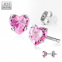 Puces d'oreilles coeur zirconium rose 4mm Han PUC020