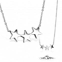 Pendentif avec trois étoiles en acier stainless Viry PEN004