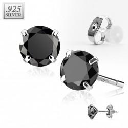 Puces d'oreilles ronde 6mm en zirconium noir Lazo PUC030