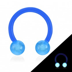 Piercing fer à cheval 10mm flexible bleu Jako FER018
