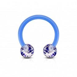 Piercing fer à cheval 10mm boules avec paillettes bleu Nixy FER033