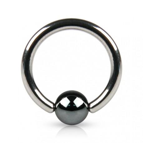Piercing anneau 6 x 1mm avec boule en hématite de 3mm Gixu ANN027