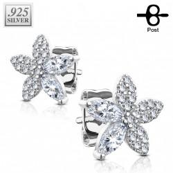 Puces d'oreilles argent et fleurs en zirconiums Kaji PUC067