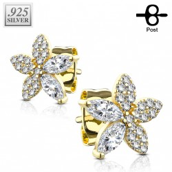 Puces d'oreilles doré et fleurs ornées de zirconiums Kec PUC067