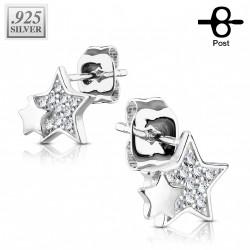 Puces d'oreilles plaqué argent et étoiles avec des zirconiums Kajo PUC102