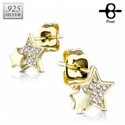 Puces d'oreilles doré et étoiles avec des zirconiums Kavaz PUC102