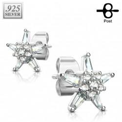 Puces d'oreilles plaqué argent et fleur en étoile Kuki PUC103