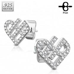 Puces d'oreilles plaqué argent avec un coeur en zirconium Kily PUC104