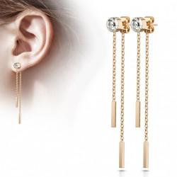 Puces d'oreilles or rose avec chaînettes tombantes Caxa PUC105
