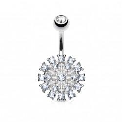 Piercing nombril avec fleur en crystals blanc Vafu NOM107