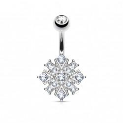 Piercing nombril Starburst en crystals blanc Viko NOM108