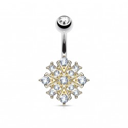 Piercing nombril Starburst or rose en crystals blanc Vyjo NOM108