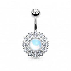 Piercing nombril fleurs et coeur en crystal Comxo NOM117