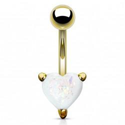 Piercing nombril doré coeur et opaline blanche scintillante Vadux NOM001