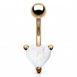 Piercing nombril or rose coeur et opaline blanche Vux NOM132