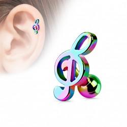 Piercing cartilage tragus hélix clé de sol arc en ciel Oaxy Piercing oreille3,95€