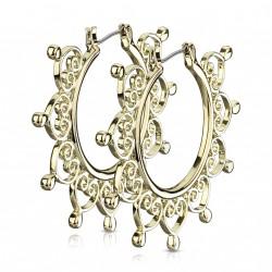 Boucle d'oreille doré avec filigrane en forme de cœurs Zavaz BOU022