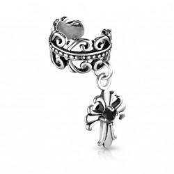 Faux anneau d'oreille celtic et croix en pendentif Buki FAU074