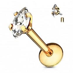 Piercing labret doré 6 x 1,2mm avec un zirconium marquise Haz LAB157