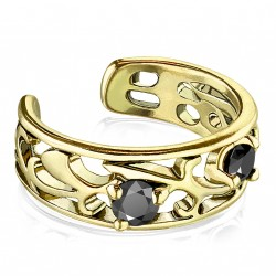 Faux anneau avec filigrane doré antique et zirconium Byxe