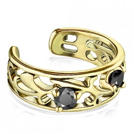 Faux anneau avec filigrane doré antique et zirconium Byxe FAU349