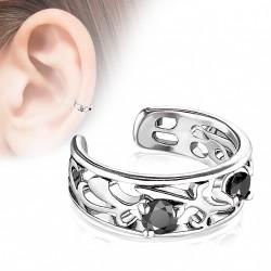 Faux anneau avec filigrane silver et zirconium noir Tasu FAU349
