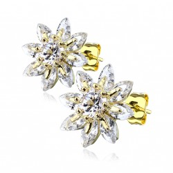 Puces doré d'oreilles fleurs marquise en zirconiums Kox PUC083