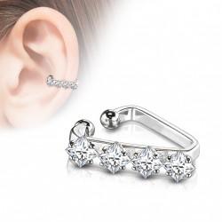 Faux anneau d'oreille triangulaire avec zirconiums Mady FAU354