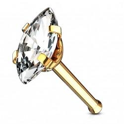 Piercing nez droit doré avec une marquise en zirconium Poly NEZ152