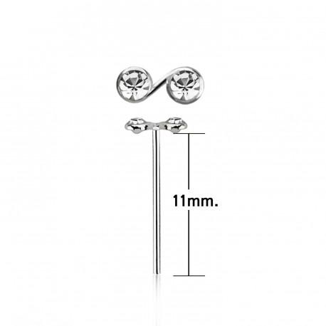 Piercing nez à plier avec deux crystals blanc Naduw NEZ074