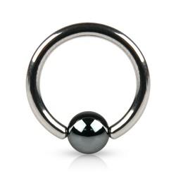 Piercing anneau 16 x 1,2mm avec boule en hématite de 4mm Loax ANN059