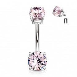 Piercing nombril avec deux zirconiums rose Hiok NOM122