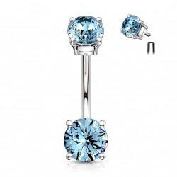Piercing nombril avec deux zirconiums bleu aqua Hyuk NOM122