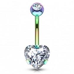 Piercing nombril arc en ciel avec un coeur en zirconium blanc Sayk NOM133