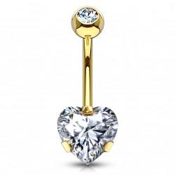 Piercing nombril doré avec un coeur en zirconium blanc Sadux NOM133