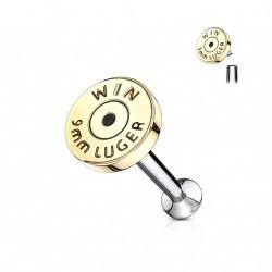 Piercing labret 6mm avec une douille doré de 9mm Saz LAB017
