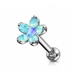 Piercing hélix, tragus fleur et pétales en opaline bleu Vuki