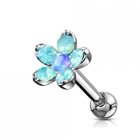 Piercing hélix, tragus fleur et pétales en opaline bleu Vuki HEL067