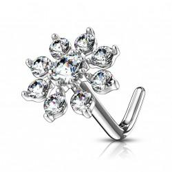 Piercing nez coudé avec une fleur en zirconium blanc Xbuc NEZ155