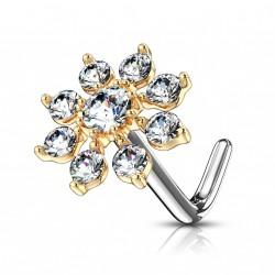 Piercing nez doré avec une fleur en zirconium blanc Liko NEZ155
