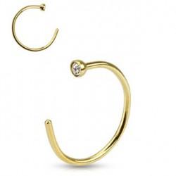Faux piercing anneau 8x 0,8mm doré et cristal blanc Vasu FAU231