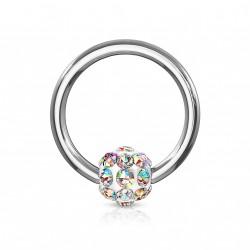 Piercing anneau 8 x 1,2mm avec boule en crystal aurore borèale koji ANN100